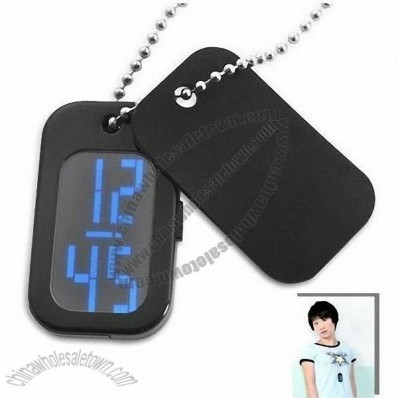 Dog Tag Shaped Japanese Style LED Watch