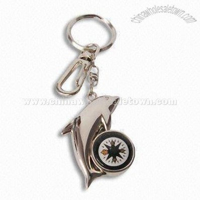 Dolphin-shaped Metal Keychain wiht Compass