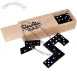 Domino Set In Travel Case With Sliding Lid. Colors: Tan With Black Dominoes