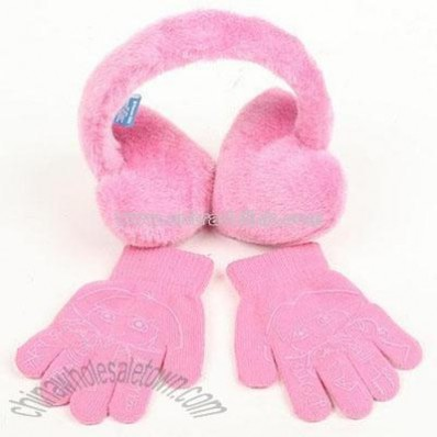 Dora Ear Muff Gloves-Pink