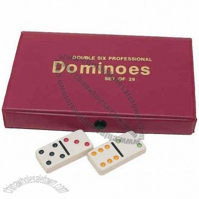 Double 6 Dominoes Game Set With Color Dots And Vinyl Case