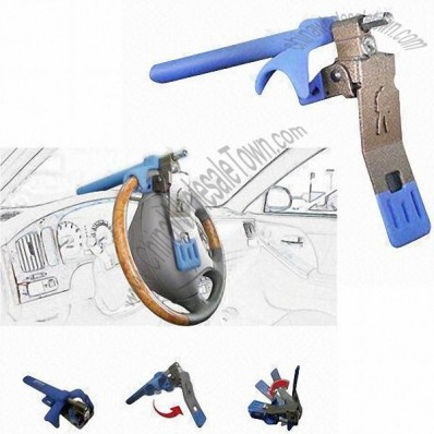 Double Adjustable Steering Wheel Lock with Hardened Plate and 3 Keys