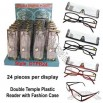 Double Temple Reading Glasses with 24pcs Display Stand