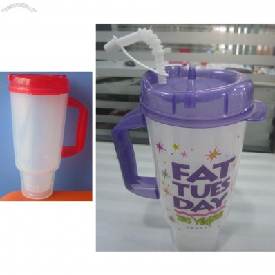 Double Wall Auto Travel Tumbler Mug With Straw