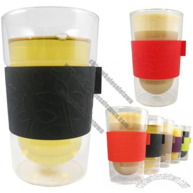 Double Walled Latte Glasses with Silicone Grip