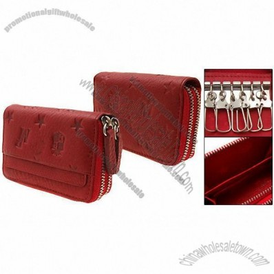 Double Zipper Business Card Holder Red Leather Wallet with Key Ring