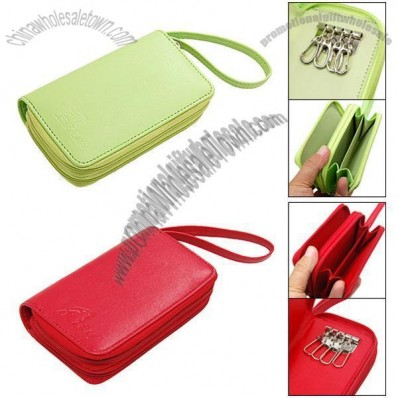 Double Zipper Closure Carrying Bag Purse Wallet Keyring