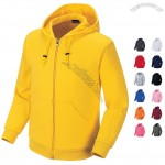 Double-layer Cotton Hooded Sweatshirt Solid Color Full Zip-up Hoodie