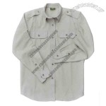 Double stitched 2 pocket L/S shirt with shoulder epaulets pigment dyed cotton.
