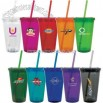 Double wall construction travel mug with threaded lid and straw