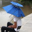 Drop Blue/Silver Folding Hat Umbrella