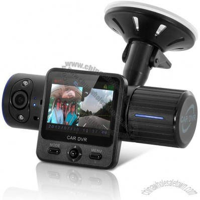 Dual-Camera Car DVR with 270 Degree HD Rotatable Lens - 1080P, GPS Logger, G-sensor, Nightvision
