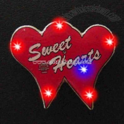 Dual hearts - Flashing pin with love theme