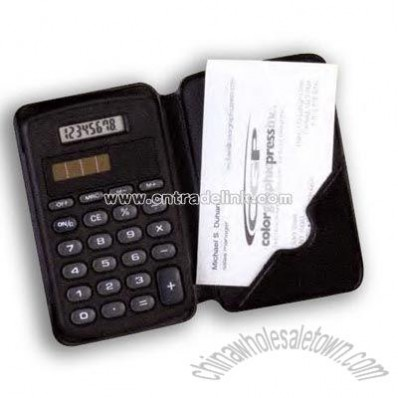 Dual power calculator with a pocket to carry business cards
