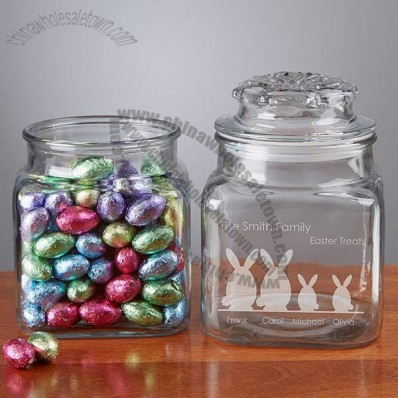 Easter Bunny Family Character Engraved Glass Treat Jar