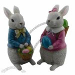 Easter Ornaments with Hand-painted Polyresin Bunny Fabric Leg Craft
