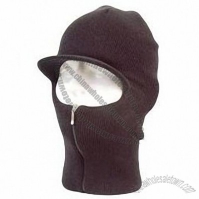 Easy ZIP Down Knit SKI Visor Face Mask Zipper up Balaclava Brim Hunting Hat Cap