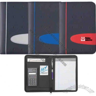 Eclipse - Zippered Portfolio With Calculator, Includes 30 Page Writing Pad