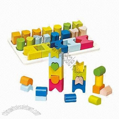 Educational Wooden Geometric Building Blocks For Kids