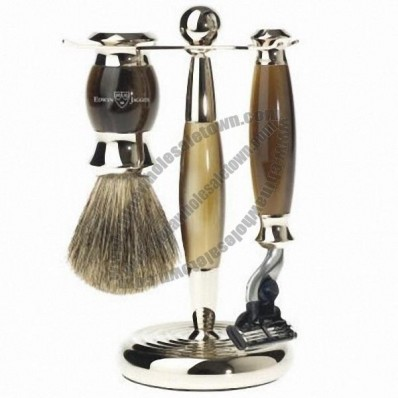 Edwin Jagger 3pc Horn Shave Set, Mach 3, Badger Brush & Stand - Temp Out-of-Stock