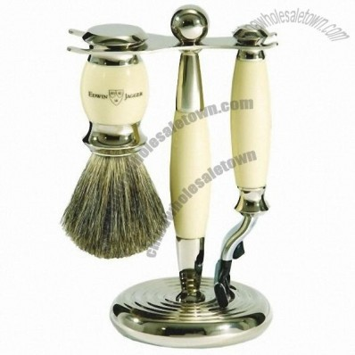 Edwin Jagger 3pc Ivory Shave Set, Mach 3, Badger Brush & Stand - Temp Out-of-Stock