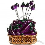 Eggplant Fruit Forks Creative Household Fruit Picker Set