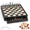 Egyptian Pewter Chess And Checker Set And Wooden Chessboard With Storage Drawers