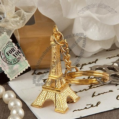 Eiffel Tower Design Gold Key Chain Favor