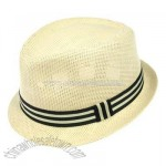 Eight Ball Stingy Brim Fedora - Natural/Striped