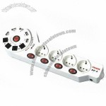 Electrical Receptacle Power Strip with USB Charger + Tel/Fax Protection Port