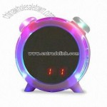 Electronic Clock in Round Mini Mirror Design with LED Light