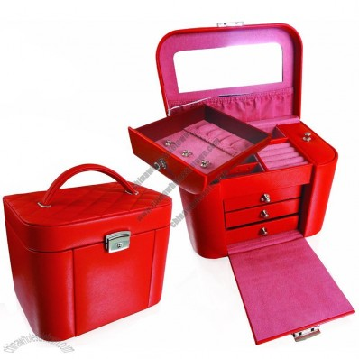 Elegant Fashion PU Leather MDF Jewelry Packing Beauty Box Jewellery Case for Lady