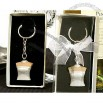 Elegant White Bridal Gown Key Chain Favor