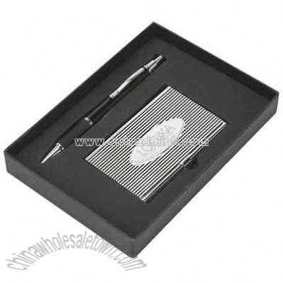 Elegant cardholder with coordinated ballpoint pen in custom gift box packaging