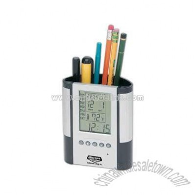 Elegant pen holder and clock with large LCD display