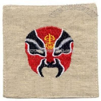 Embroidered Chinese Coasters - Opera Mask