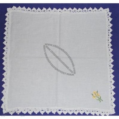 Embroidered Handkerchief With Lace Trim