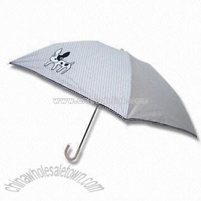 Embroidered Umbrella with Wicker Hook Handle