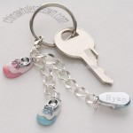 Engraved Baby Bootie Key Chain