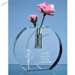 Engraved Crystal Vase With Glass Flower