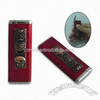 Engraved Human Skeleton Red Windproof Lighters
