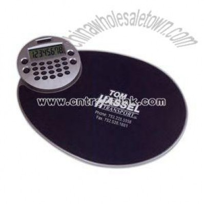 Ergonomic mouse pad with rotating LCD display calculator
