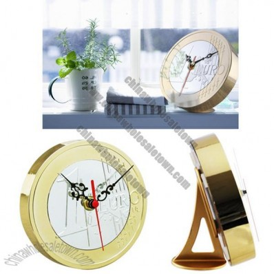 Euro Coins Desk Clock