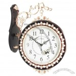 European Fashion Double Side Wall Antique Room Silent Clock