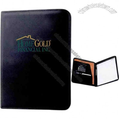 Executive - Leatherette Portfolio With Solar Calculator And Notepad