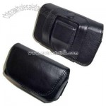 Executive Black Horizontal Leather Side Case Cell Phone Pouch with Velcro Flap and Belt Clip