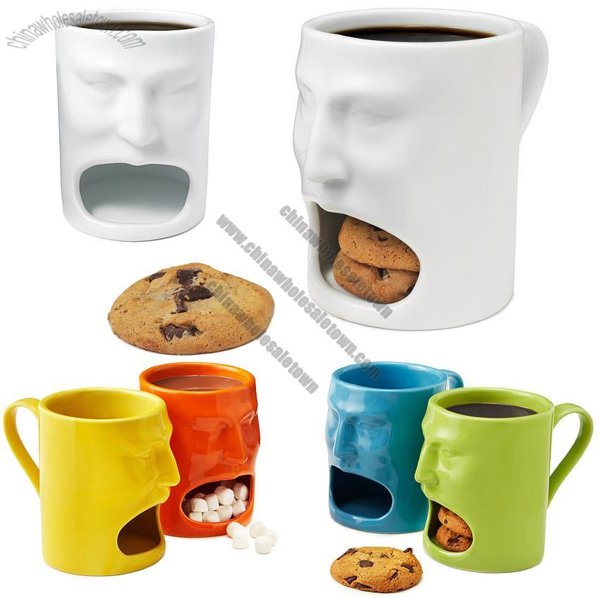 Face Mug with Biscuit Holder, Ceramic Mugs, China Wholesale Town ...