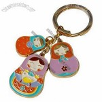 Fancy Design Metal Keychain with Soft Enamel Coloring