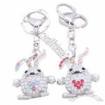 Fancy Rabbit Rhinestone Keychain
