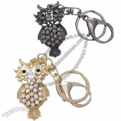 Fancy Rhinestone Metal Keychain with Owl Design
